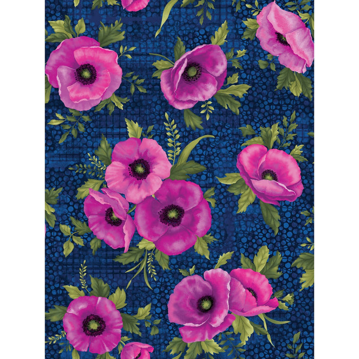 NEW! Midnight Poppies collection by Ann Lauer - Grizzly Gulch Gallery - per yard - GORGEOUS! Purple, pink, blue! Fuchsia Poppies on Midnight - RebsFabStash