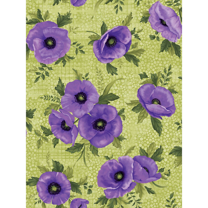 NEW! Midnight Poppies collection by Ann Lauer - Grizzly Gulch Gallery - per yard - GORGEOUS! Purple, pink, blue! Purple Poppies on Green - RebsFabStash