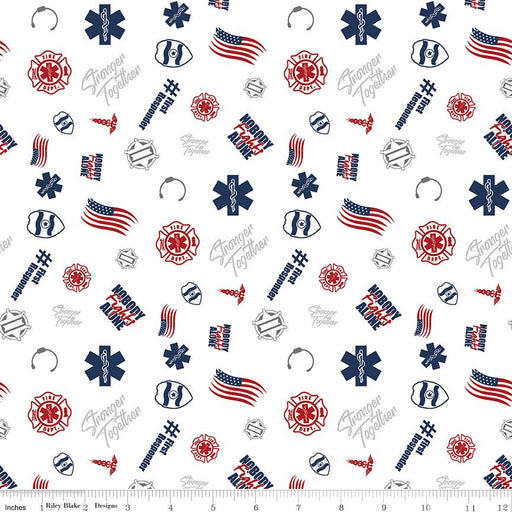 NEW! Nobody Fights Alone - First Responders - per yard - Riley Blake - Tossed White - C10421-WHITE - RebsFabStash