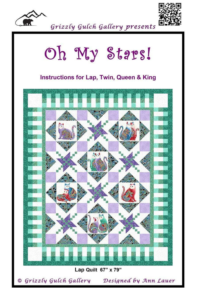 New! Oh My Stars! - Quilt Pattern by Ann Lauer - 4 sizes - Grizzly Gulch Gallery - RebsFabStash