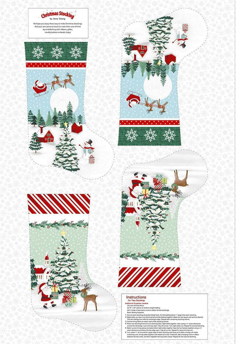 "NEW! Peace and Goodwill - per PANEL - by Anna Cheng for Studio E - Christmas Tree Panel 36"" - 5199P-68 Green/Red - RebsFabStash"