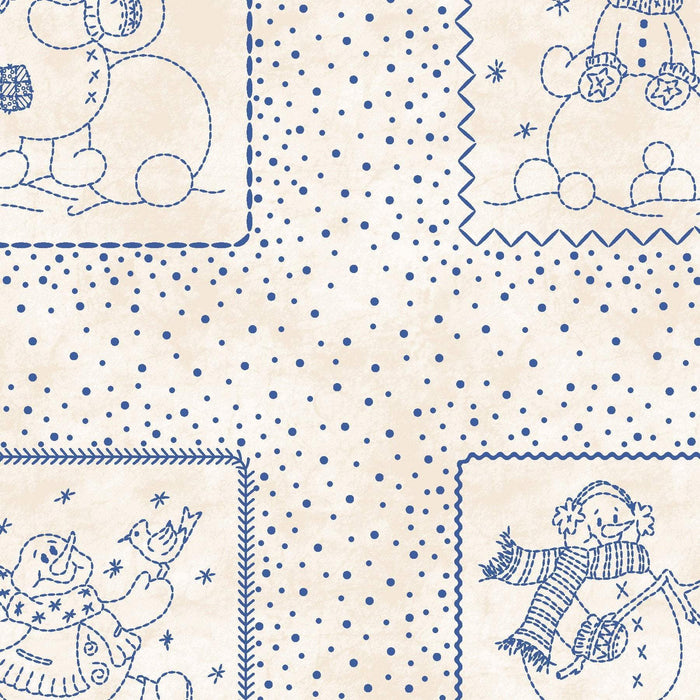 NEW! Roly-Poly Snowmen by Robin Kingsley for Maywood - PANEL - Snowmen blocks on ecru - MAS 8411 E Cute!!! - RebsFabStash