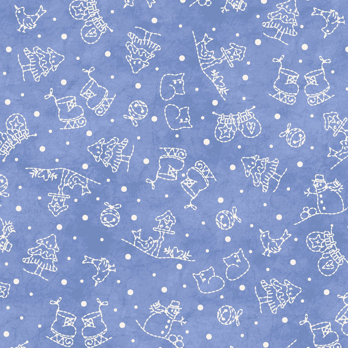NEW! Roly-Poly Snowmen by Robin Kingsley for Maywood - Sold by the yard - Mini Motifs on light navy - trees, mittens, skates- MAS 8415 N - RebsFabStash