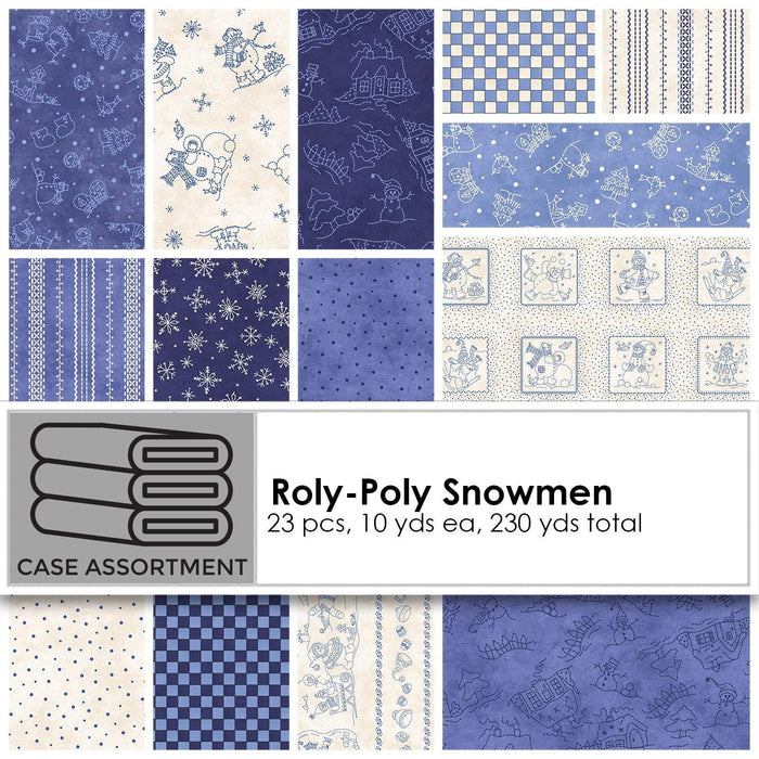 NEW! Roly-Poly Snowmen by Robin Kingsley for Maywood - Sold by the yard - Tossed blue snowmen on ecru - MAS 8413 E - RebsFabStash