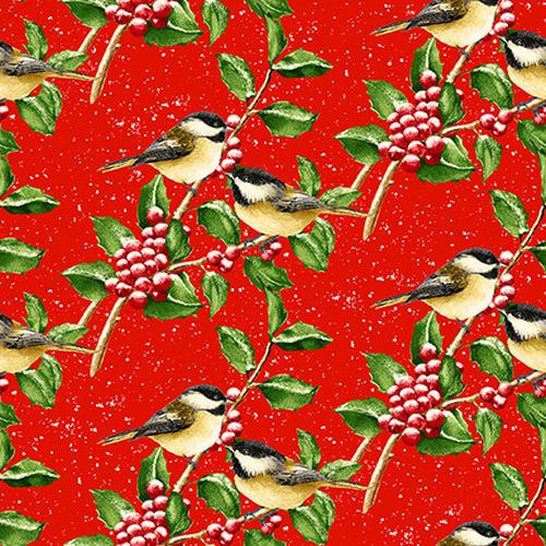 NEW! Snow Bird 2-ply FLANNEL - per yard - Barb Tourtillotte for Henry Glass - Chickadees - F9124-88 Red - RebsFabStash