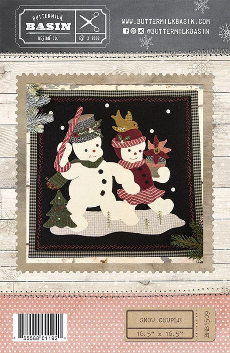 New! Snow Couple - Primitive wool applique quilt pattern - Buttermilk Basin - Wool - Wall Hanging - RebsFabStash