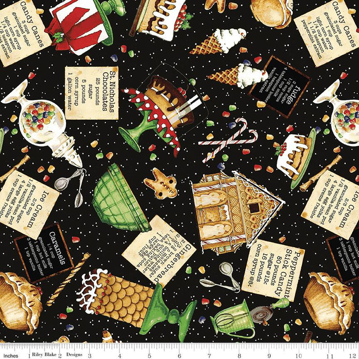NEW! Snow Sweet - per yard - by Janet Wecker Frisch - Riley Blake Designs - Candy Making Text Black - C9669-BLACK - RebsFabStash