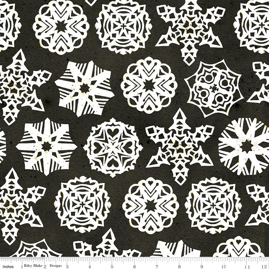 NEW! Snow Sweet - per yard - by Janet Wecker Frisch - Riley Blake Designs - Paper Snowflakes Charcoal - C9668-CHARCOAL - RebsFabStash