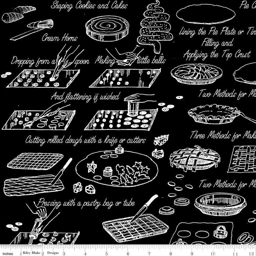 NEW! Snow Sweet - per yard - by Janet Wecker Frisch - Riley Blake Designs - Vintage Cook Book Black - C9674-BLACK - RebsFabStash