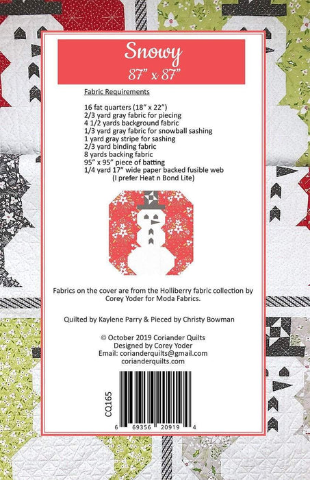 New! Snowy #165 - Coriander Quilts - by Corey Yoder - Fat Quarter Friendly - RebsFabStash