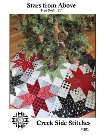 "New! Star from above - Mini pattern - Tree Skirt 51""- Creek Side Stitches #301 - Christmas - RebsFabStash"