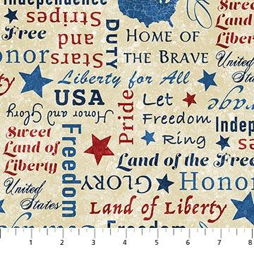 NEW! Stars and Stripes 8 - Stonehenge - per yard - By Linda Ludovico & Deborah Edwards for Northcott - Beige Words- 23461-12 - RebsFabStash