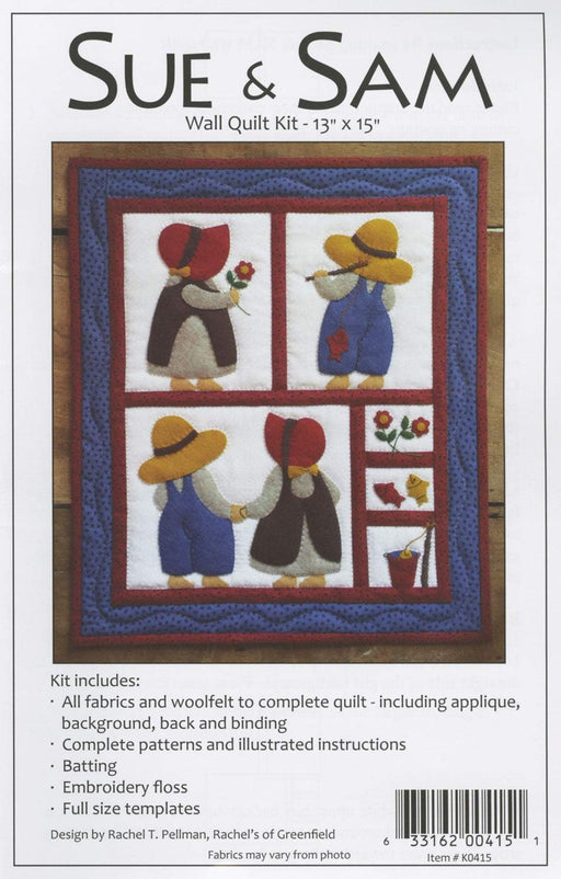 "New! Sue and Sam - Rachel T. Pellman - Rachel's of Greenfield - Wall hanging quilt kit 13"" x 15"" - RebsFabStash"