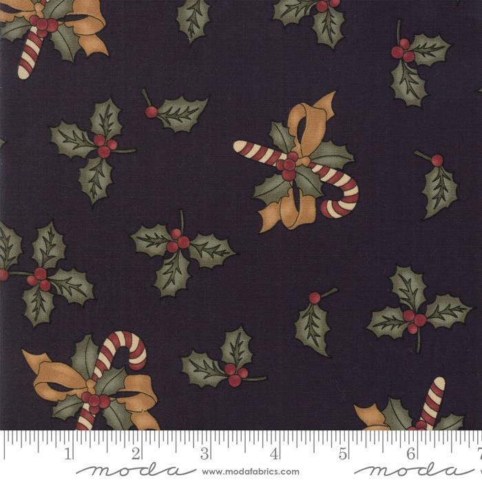 NEW! Sweet Holly - per yard - MODA - by Kansas Troubles - Holly and Candy Canes Green - 9630 15 - RebsFabStash