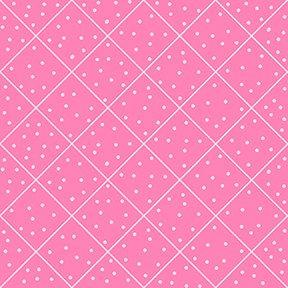 NEW! The Quilted Cottage by Desiree Designs-Quilting Treasures-Fun fairies and notions! Per Yard- Diamond check pink and dots - RebsFabStash