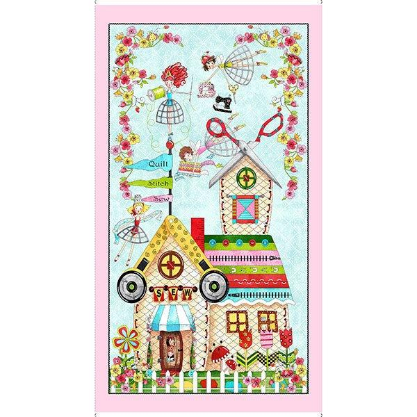 NEW! The Quilted Cottage by Desiree Designs-Quilting Treasures-Fun fairies and notions! Per Yard- Diamond check turquoise and dots - RebsFabStash