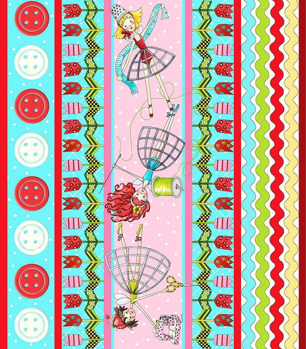 NEW! The Quilted Cottage by Desiree Designs - Quilting Treasures -Fun fairies & notions! Per Yard- Red and White ric rac border print stripe - RebsFabStash