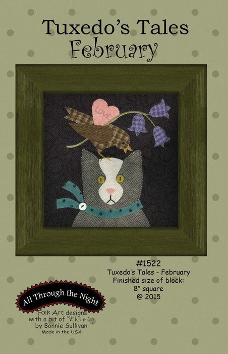 New! Tuxedo's Tales - February - BOM pattern- Primitive Gatherings by Lisa Bongean -Primitive #1522 - RebsFabStash