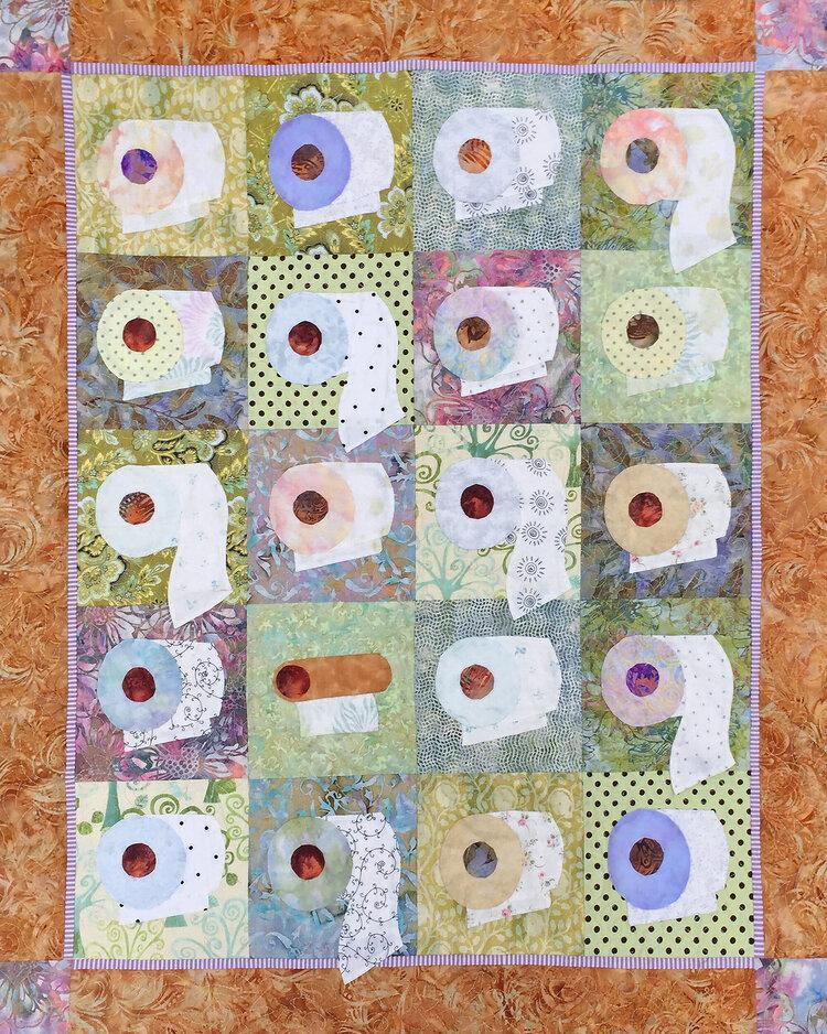 "New! ""We're On A Bigger Roll"" - Quilt KIT! - Uses Java Batiks & Coastal Chic Batiks - pattern by Karen Brow for Java House Quilts - Toilet Paper Quilt - RebsFabStash"