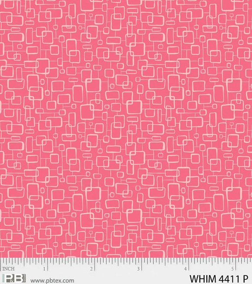 New! Whimsy on the Quad- Pink - Per Yard - by Heather Dutton of Hang Tight Studio for P&B Textiles - tonal, blender - WHIM 04411 P pink - RebsFabStash