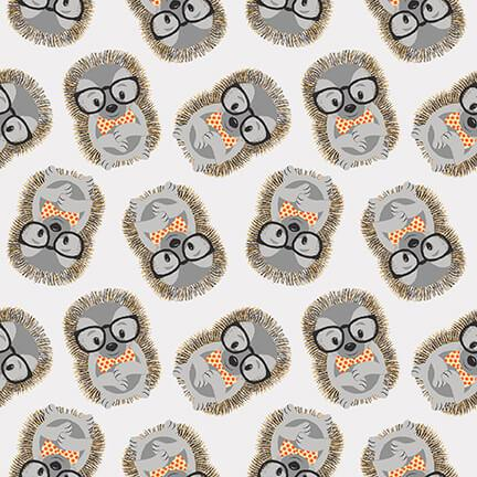 New! Wild and Free - Tossed Hedgehogs - Gray - Per Yard - by Jessica Mundo - Henry Glass & Co. - 9566-91 gray - RebsFabStash