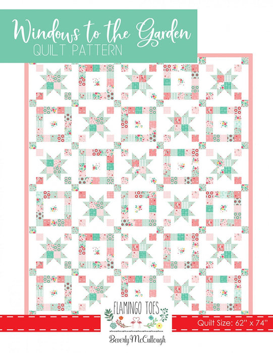 New! Windows to the Garden Quilt pattern - by Beverly McCullough of Flamingo Toes - uses Rose Lane fabric by Riley Blake - RebsFabStash