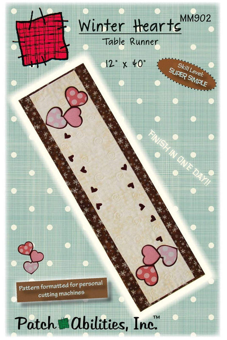 New! Winter Hearts Table Runner - Pattern - by Patch Abilities, Inc. Easy Pattern - RebsFabStash