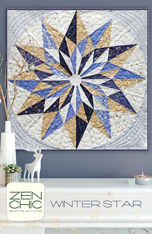 "New! Winter Star - wall quilt - designed by Brigitte Heitland - Zen Chic - 33"" x 33"" Pieced - RebsFabStash"