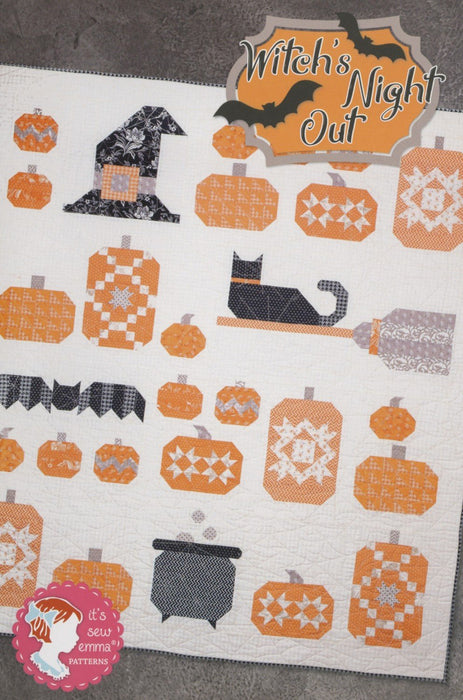 NEW! Witch's Night Out - QUILT KIT and BOOK - All Hallow's Eve - Sew Emma - RebsFabStash