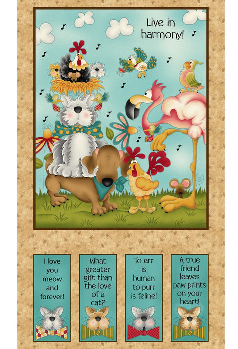 No FOWL Play - Panel - Henry Glass by Leanne Anderson - Tan Panel - RebsFabStash
