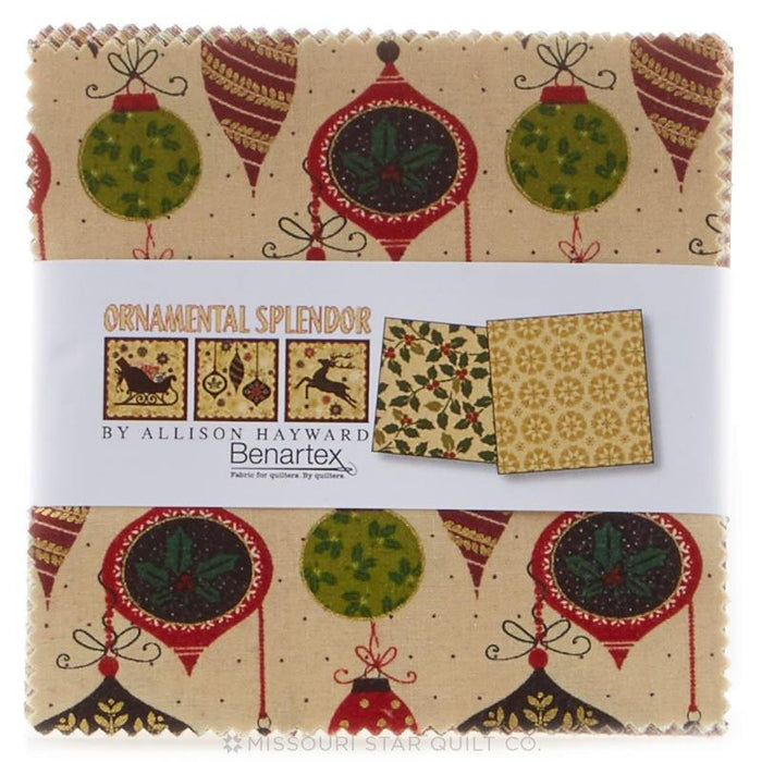 "Ornamental Splendor Charm Pack - by Allison Hayward - Benartex - (42) 5"" squares - Christmas fabric - RebsFabStash"