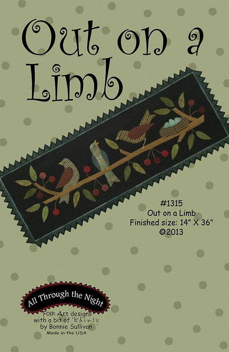 Out on a Limb - Primitive wool applique pattern - Table runner - Bonnie Sullivan - Flannel or Wool - All Through the, applique - RebsFabStash