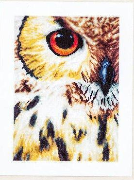 "Owl - Aida (27 ct) LanArte Counted Cross Stitch Kit, 16.4"" x 8"", includes thread, fabric, needles, pattern PN-0157518 - RebsFabStash"
