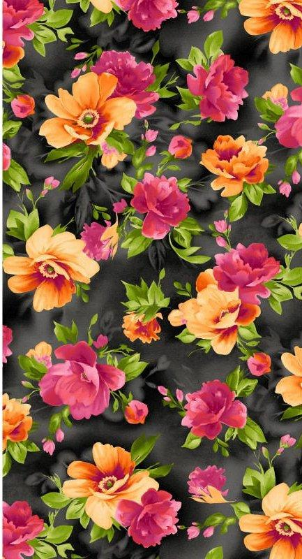 Paradise by Maywood Studio-Per yard - large floral on black MAS 8453-J beautiful floral, tonals, blenders, tulips & roses! - RebsFabStash