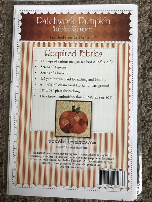 Patchwork Pumpkin Table Runner - Pattern - by Shabby Fabrics - Fall, Thanksgiving, Applique, scrap friendly - RebsFabStash