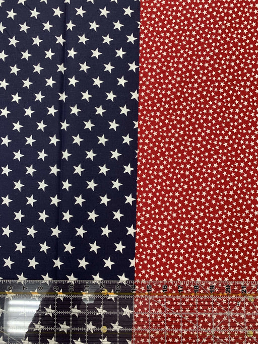 "Patriotic Stars - White stars on Navy or White stars on Red - 108"" wide Quilt Back Fabric - by Basic Palette - 108"" wide - RebsFabStash"