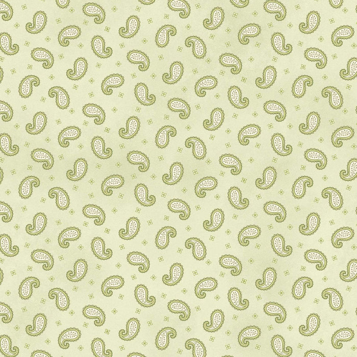 Peaceful Garden - per yard - Henry Glass - Mary Jane Carey - Small Paisley Toss light green - Shabby Chic Vintage - RebsFabStash