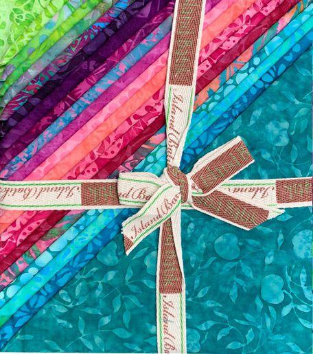 "Petal Pushers - Layer Cake stack (40) 10"" squares - by Kathy Engle for Island Batiks - Bright light greens, pinks, and blues with rich dark blues and purples"