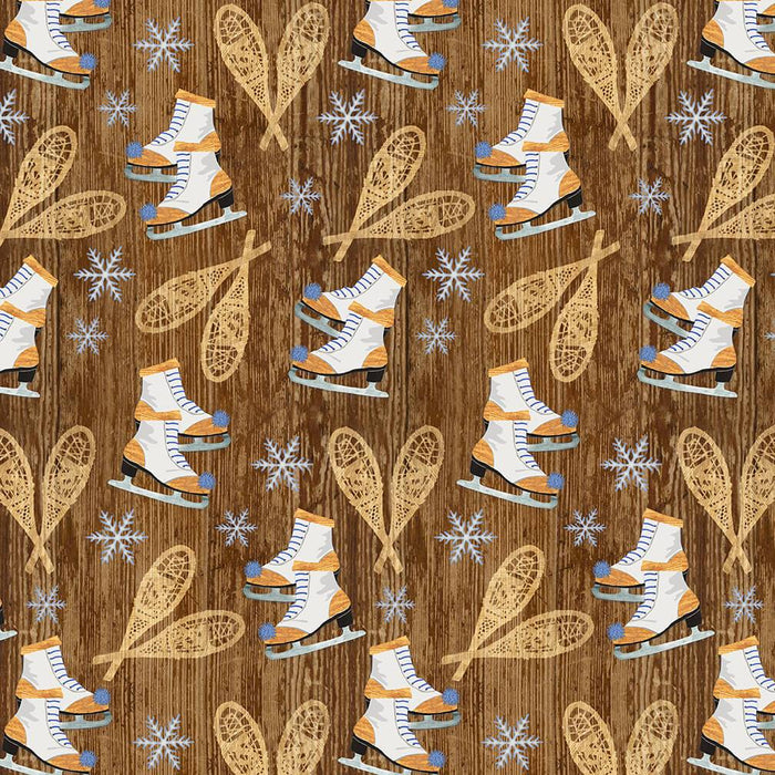 Pine Cone Lodge - 2ply FLANNEL - per yard - Andrea Tachiera for Henry Glass - Skiers - F9257-44 Beige - RebsFabStash