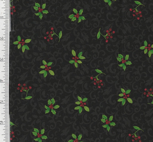 Poinsettia - 1 Yd - Clothworks by Sue Zipkin - Holly on black Scrollwork - RebsFabStash