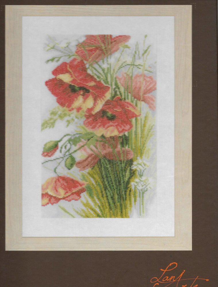 Poppies - Lanarte Home and Garden Cross Stitch Collection - Linen (30 ct) Complete Counted Cross Stitch Kit - RebsFabStash