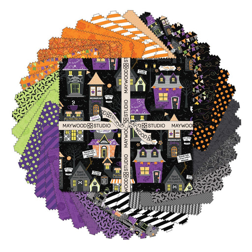"PREORDER! Hometown Halloween - Layer Cake - by Kim Christopherson of Kimberbell for Maywood Studio - 10"" Squares (42) - RebsFabStash"