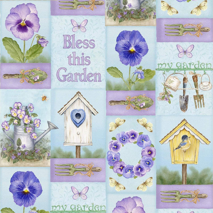 "Pretty as a Pansy - Panel - Henry Glass by Jane Shaskey of Jane's Garden - Panel 24"" x 44/45"" - RebsFabStash"