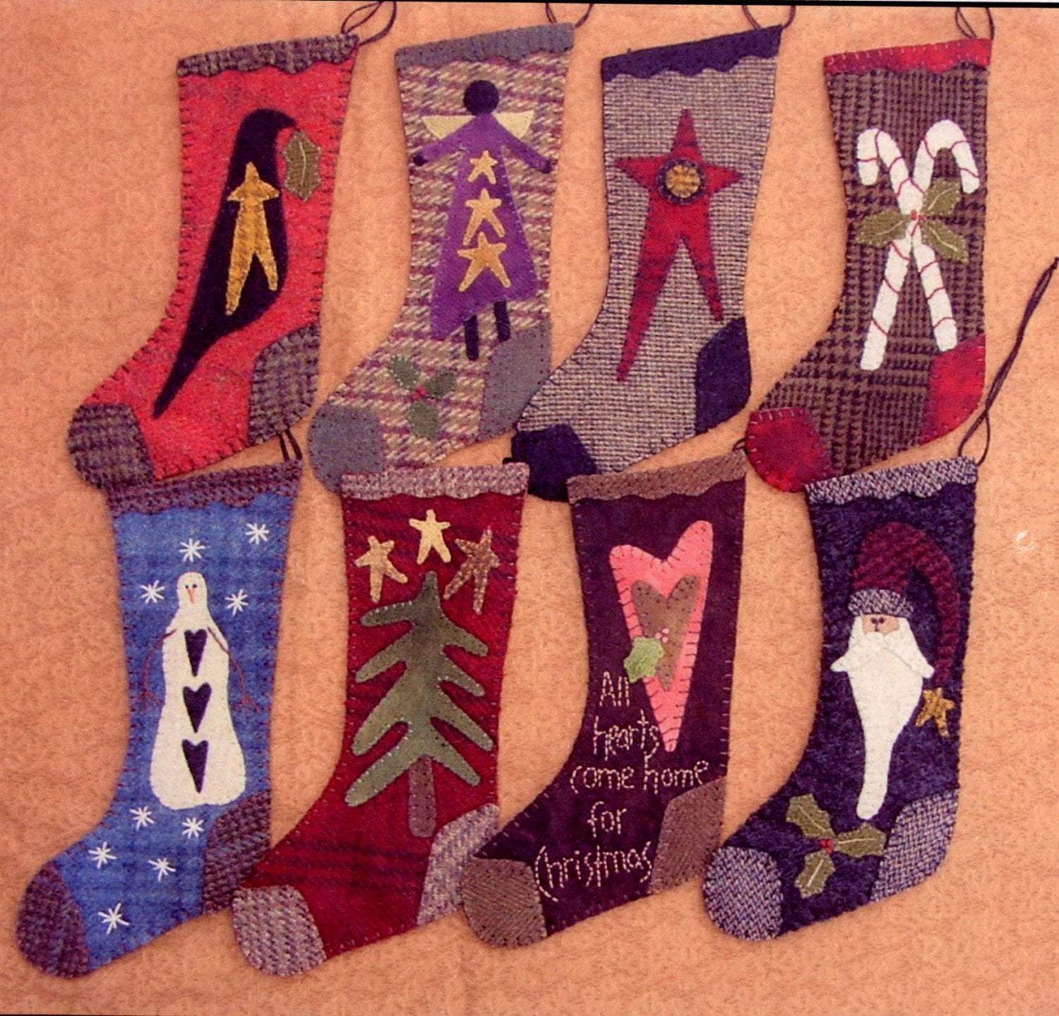 "Primitive Gatherings - 9"" Wool Christmas Stockings - Pattern - Designed by Lisa Bongean - Flannel or Wool applique - C - RebsFabStash"