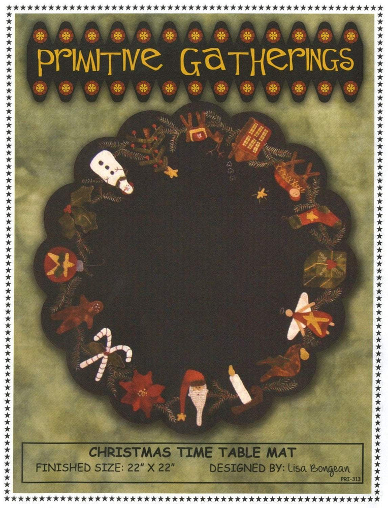 Primitive Gatherings - Christmas Time Table Mat - Pattern - Designed by Lisa Bongean - Flannel or Wool applique - C - RebsFabStash