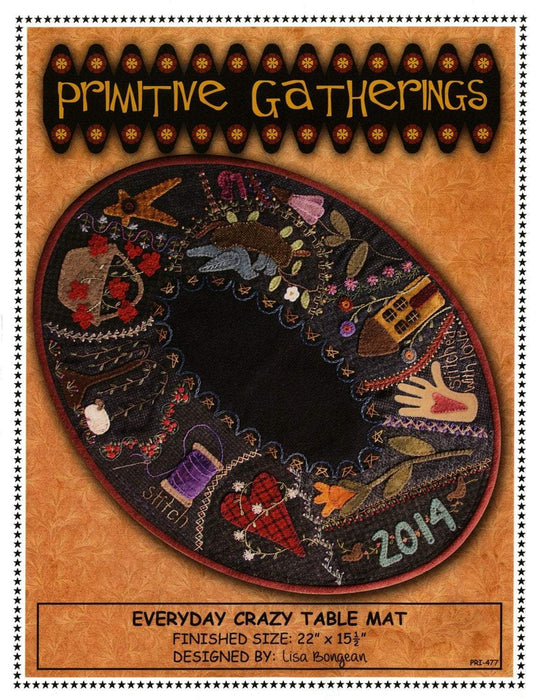 Primitive Gatherings - Everyday Crazy table mat/topper - Pattern - Designed by Lisa Bongean - Flannel or Wool applique - RebsFabStash