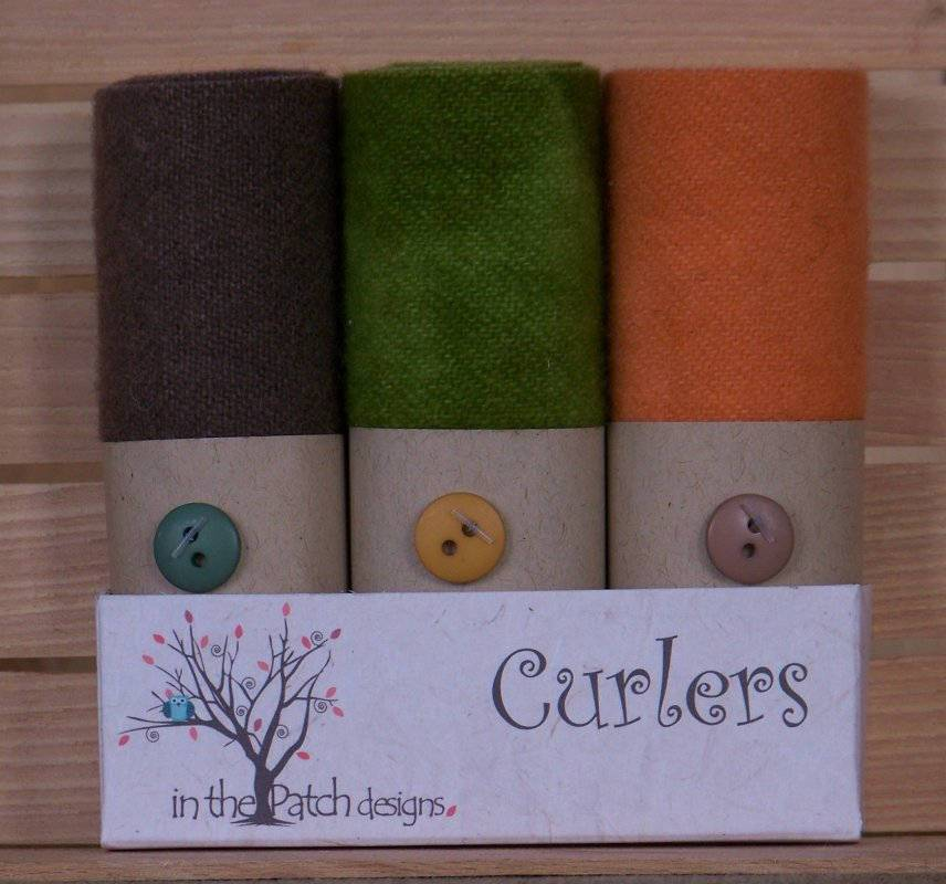 "Primitive ""Harvest"" - Hand-dyed wool ""Curlers"" by In the Patch Designs - (3) 4"" x 16"" - Beautiful fall colors, already felted, applique - RebsFabStash"