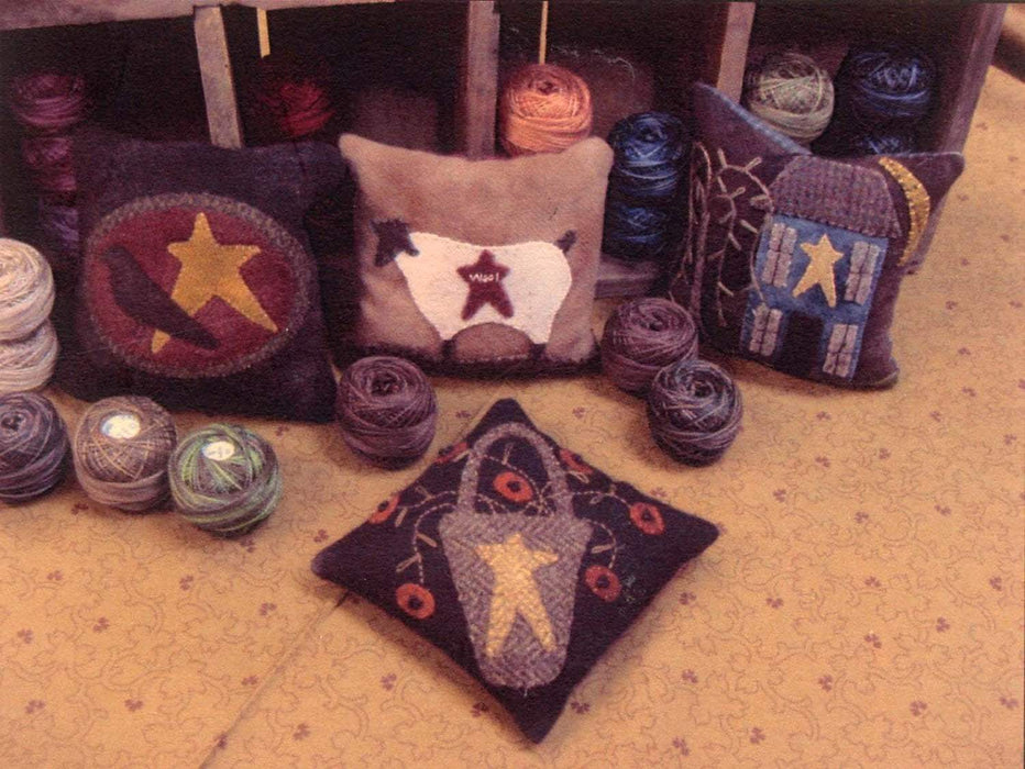 Primitive Wool Pin Cushion - pattern- Primitive Gatherings -Lisa Bongean -Primitive, Wool applique, precut friendly #140 - RebsFabStash