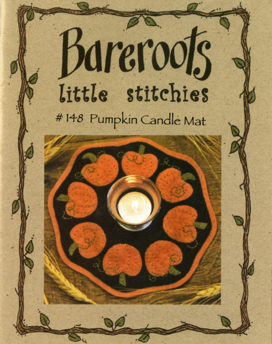 Pumpkin Candle Mat - Mini pattern- Bareroots by Barri Sue Gaudet -Primitive, Wool Applique, Candle Mat or Table Topper, precut friendly #148 - RebsFabStash