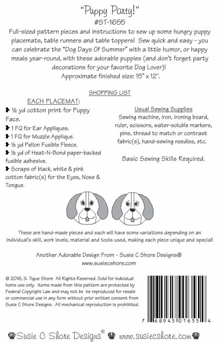Puppy Party! - Dog, canine, puppy Hot Pad or pot holder Pattern - by Susie Shore Designs - Mini Pattern #1655 - RebsFabStash